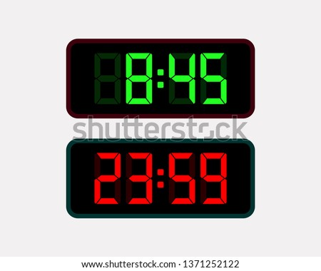 Black background green and red clock digits. Red and green digits and numbers set. Change numbers with bright illuminated led.