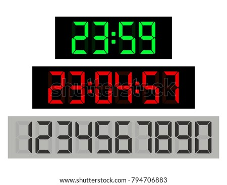 Black Background Green Clock Digits, Red Digits And Numbers Set