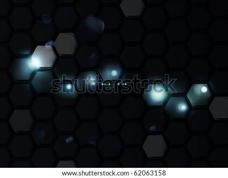 black background of hexagons
