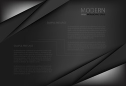black background overlap dimension grey vector illustration message board for text and message design modern website