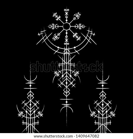 Black background with abstract white magic ancient symbols
