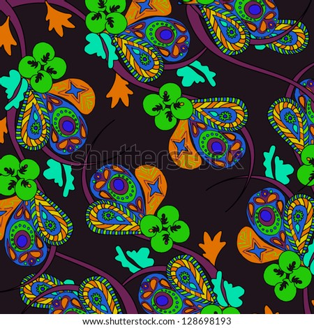 Black background with bright flowers. Pattern can be used for wallpaper, pattern fills, web page background,surface textures. Gorgeous seamless floral background - stock vector