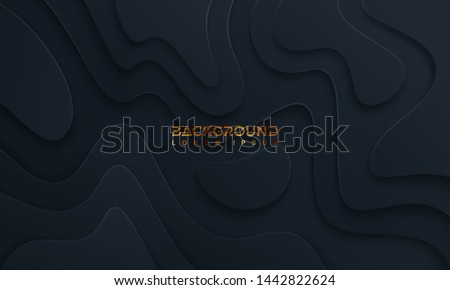 Black background with 3D style. abstract background with a wavy texture. Eps10 vector illustration.