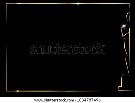black background with gold frame the abstract golden statuette logo icon. Academy award icon in flat style isolated or black background, gold Silhouette prize icon. Films and cinema symbol stock