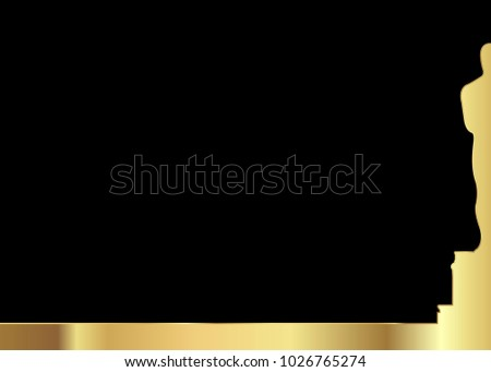 black background with golden statue silhouette. Academy award icon in flat style isolated. Gold Silhouette statue icon. Films and cinema symbol stock vector illustration.