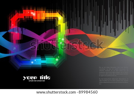 black background with rainbow colored shape / logo