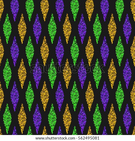 Black background with Traditional Mardi Gras seamless pattern with gold, green, yellow and violet colors, dust confetti. Vector illustration.