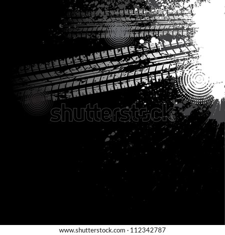 Black background with white grunge tire track - stock vector