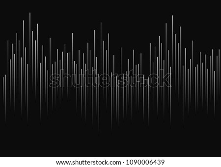 Black background with white lines. Vertical white gradient bands in the middle in the form of graphics, cardiograms, running bands. Music soundtrack, soundwaves.