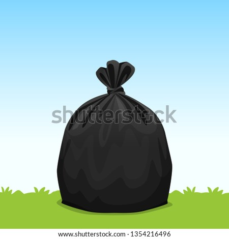 black bag plastic garbage on grass sky background, bin bag, garbage bags for waste, pollution plastic bag waste, 3r ad, waste plastic bags and copy space for banner advertising background
