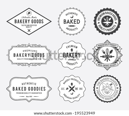 Black bakery badges on white background