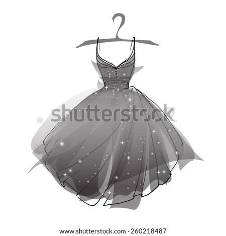black ballet dress  vector