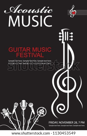 black banner with guitar for acoustic music concert
