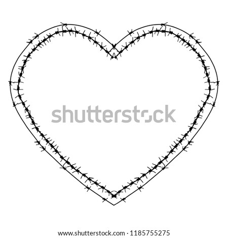 black barbed wire vector heart