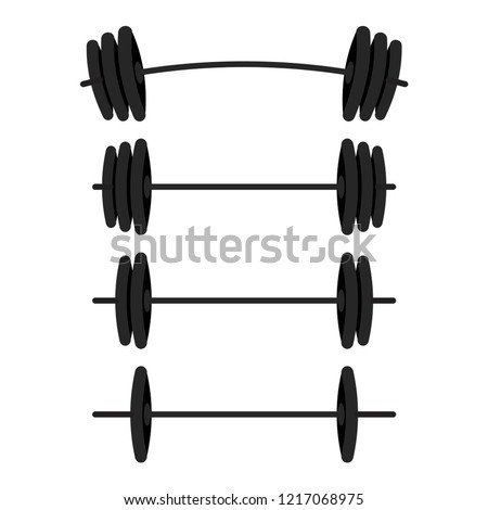 Black barbells with different weight set for gym, fitness and athletic. Weightlifting and bodybuilding equipment