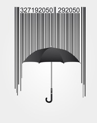 black barcode and umbrella isolated over white background. vector