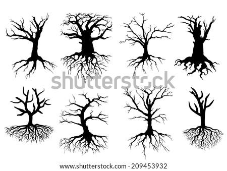 black bare tree silhouettes
