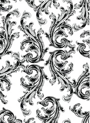 Black baroque swirls pattern on white background