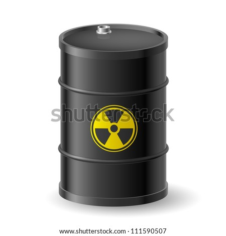 Black Barrel with a Radioactive Warning label