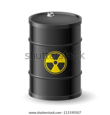 Black Barrel with a Radioactive Warning label