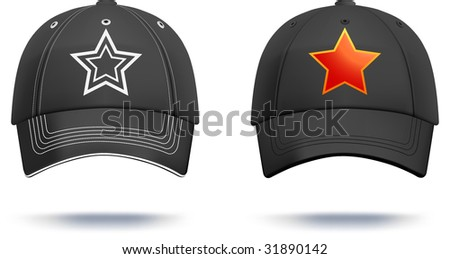 Black baseball cap design template. Gradient mesh used, details can be easily adjusted. More clothing designs in my portfolio! - stock vector