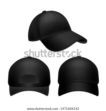 Black baseball cap. Empty hat mockup, headwear caps in back, front and side view. Corporate uniform clothes cap. Realistic vector isolated sport template object set