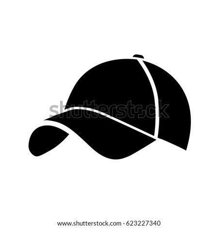 Black baseball cap icon. on white background. Vector illustration.