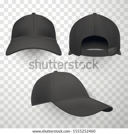 Black baseball caps realistic vector illustrations set. Blank summer hats symbols bundle on transparent background. Sports headwear mockup collection. Stylish headgear design element pack