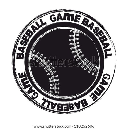 black baseball seal isolated over white background. vector illustration