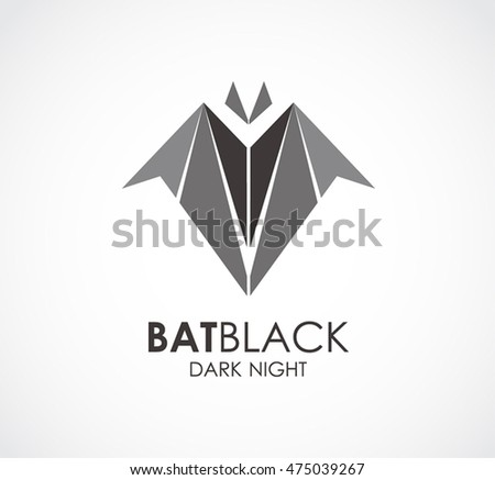 black bat of animal logo design