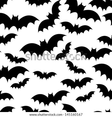 black bat seamless pattern on