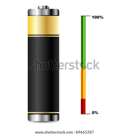 Black battery with charge level graphic over white