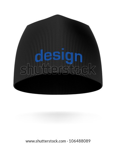 Black BEANIE, front view. Extremely detailed VECTOR illustration, created with love to details.