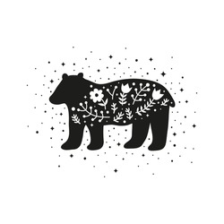 Black bear with flowers, berries, leafy branches, stars, dots isolated on white background. Scandinavian animal. Modern scandi t shirt print, poster, card.