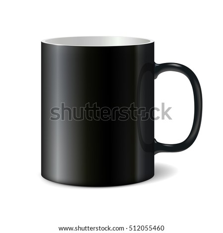 Black big ceramic cup with black handle for printing corporate logo. Cup isolated on white background. Vector 3D illustration