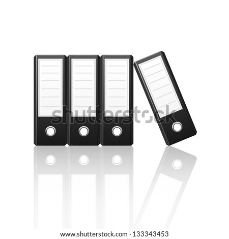 Black binders vertical isolated on white background, vector illustration