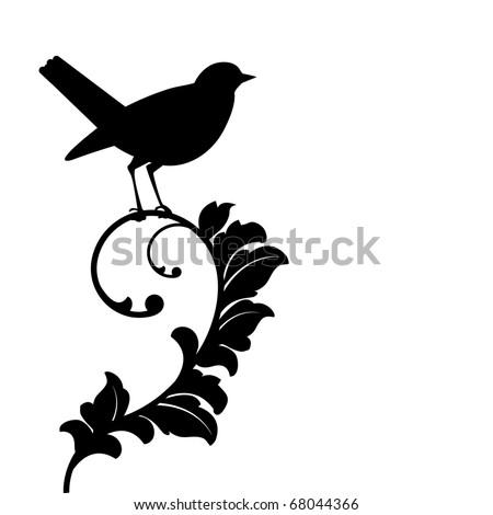 black bird (bird and plant separate)