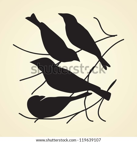 Black bird silhouettes with vintage background, vector illustration.