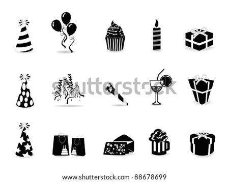 black birthday icon set - stock vector