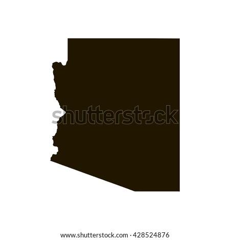 Shutterstock Black blank Arizona state map. Flat vector illustration. EPS10.