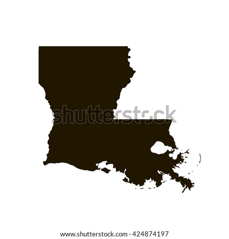 Black blank Louisiana state map. Flat vector illustration. EPS10.
