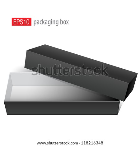 Black blank Package Box Opened with the cover removed. For electronic device and other products. Vector illustration
