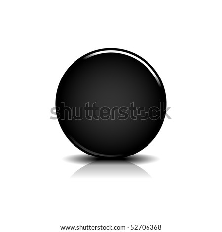 Black blank round glossy web button with shadow and reflection on white