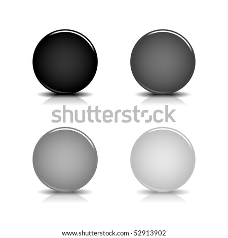 Grayscale blank round glossy web button with shadow and reflection on white background