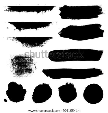 Black Blobs Set, Isolated on White Background, Vector Illustration