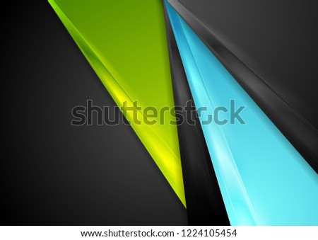 Black, blue and green abstract glossy stripes vector corporate background