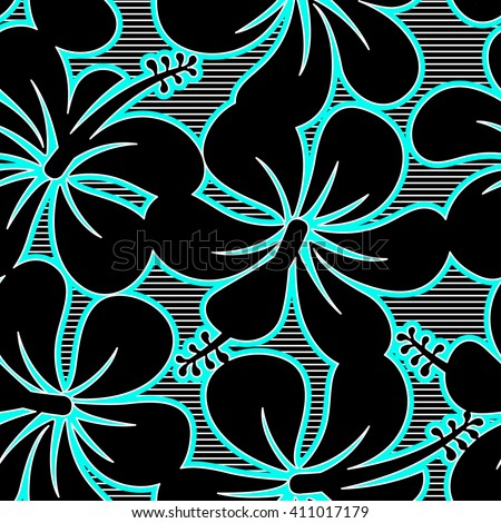 Black blue and white hibiscus lines seamless pattern .