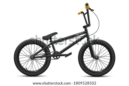 Black BMX bicycle mockup - right side view. Vector illustration of detailed bike isolated on white background Сток-фото ©
