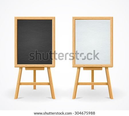 black board and white set on
