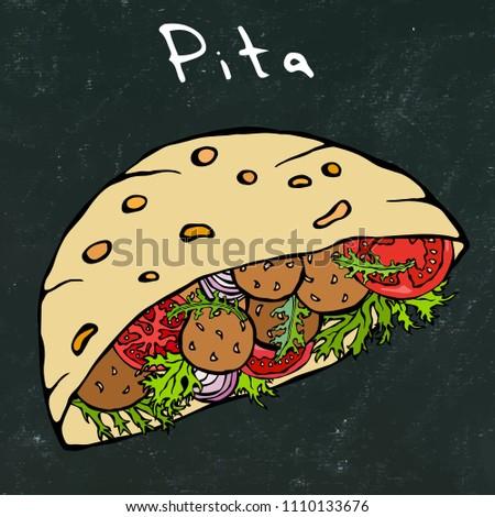 Black Board Background. Falafel Pita or Meatball Salad in Pocket Bread. Arabic Israel Healthy Fast Food Bakery. Jewish Street Food. Realistic Hand Drawn Illustration. Savoyar Doodle Style.
